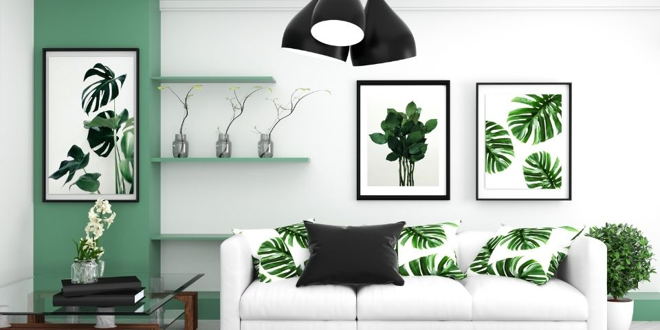 Over-styled green plant living room