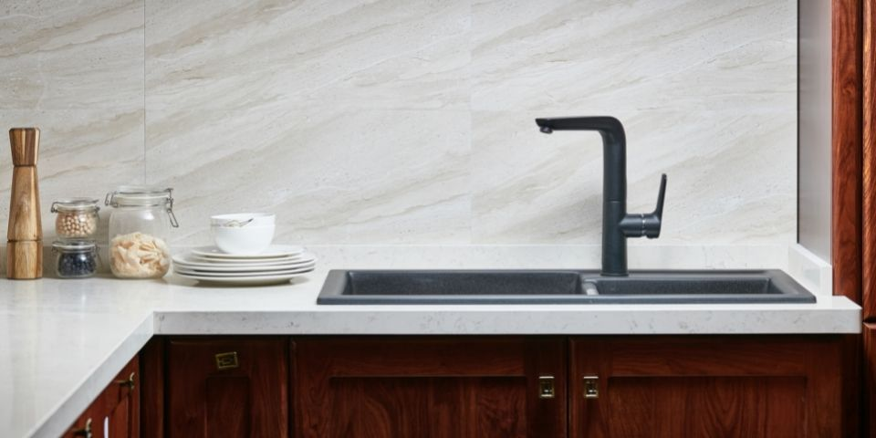 Marble countertops outdated kitchen remodel