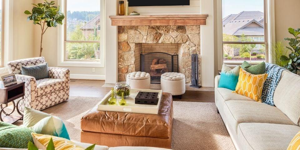 Staged living room design
