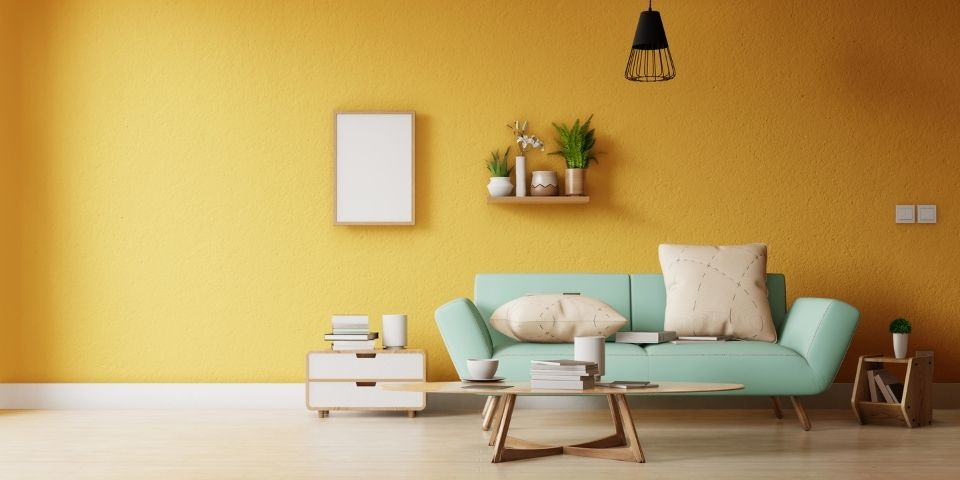 Yellow Trendy Living Room