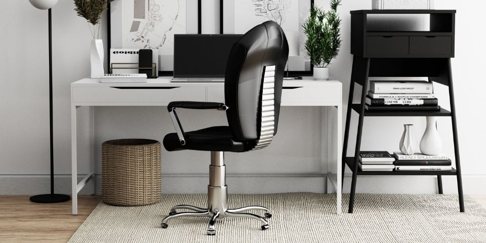 contemporary office with ergonomic chair