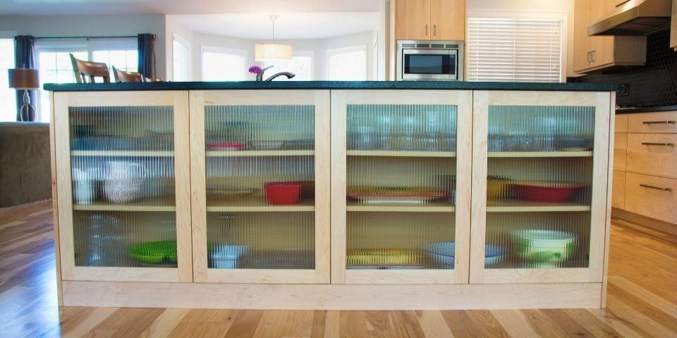 custom glass kitchen island storage