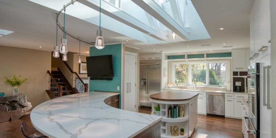 modern eclectic kitchen with skylight inserts