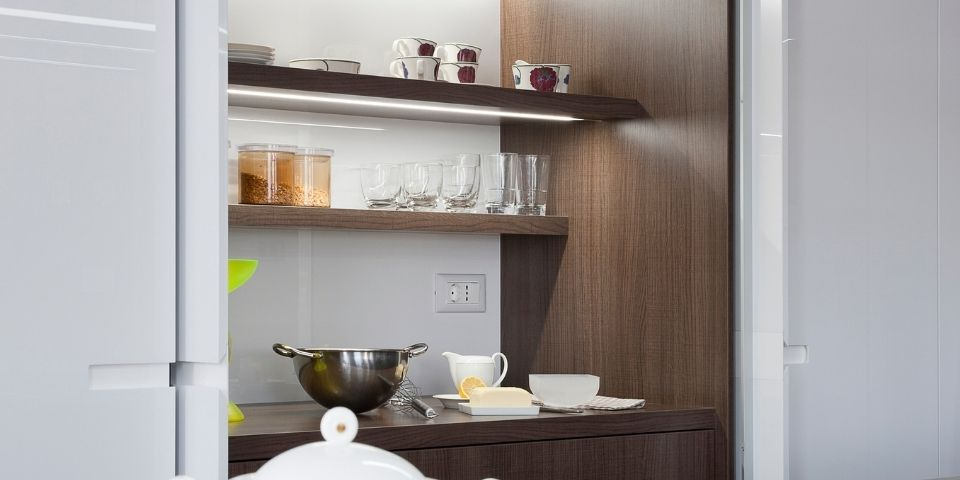 open cabinet shelving