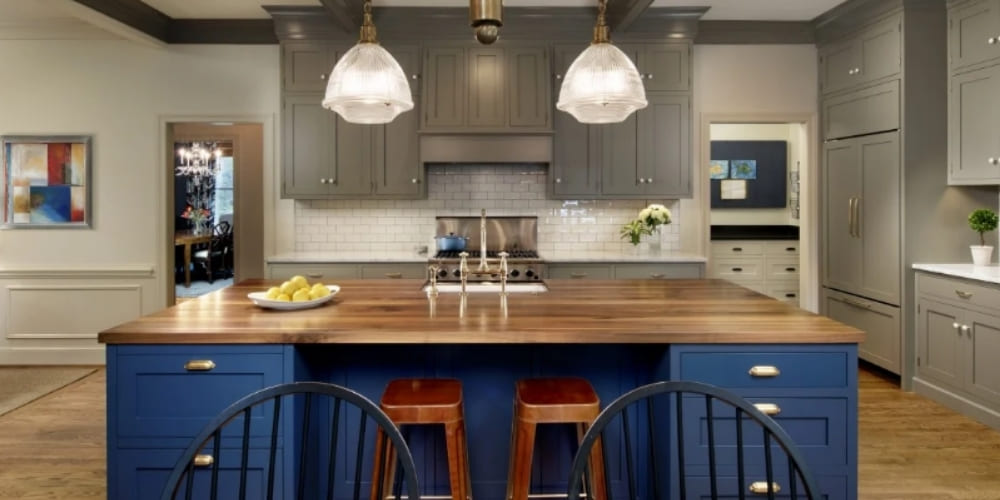 Kitchen Remodeling in Washington D.C. & Northern VA Modern Luxury Kitchen with Blue Eat-In Island and Grey Cabinetry with Subway Tile | Denny + Gardner
