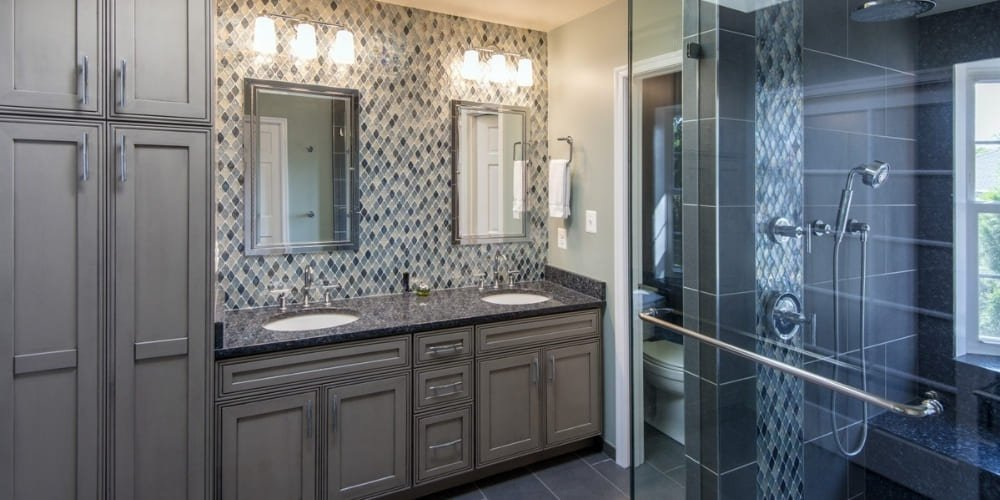 Modern Bathroom Remodel in Northern Virginia & Washington D.C. with Walk In Glass Shower and Custom Vanity Cabinetry   Denny + Gardner
