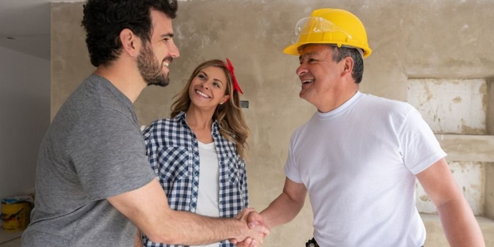 couple establishing a good relationship with their remodeling contractor