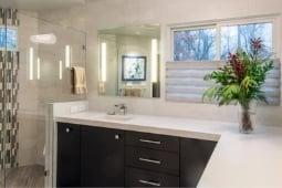 Bathroom Remodeling Services Monochrome Bathroom Design with Glass Walk In Shower and Black Cabinets | Denny + Gardner Design-Build Remodelers