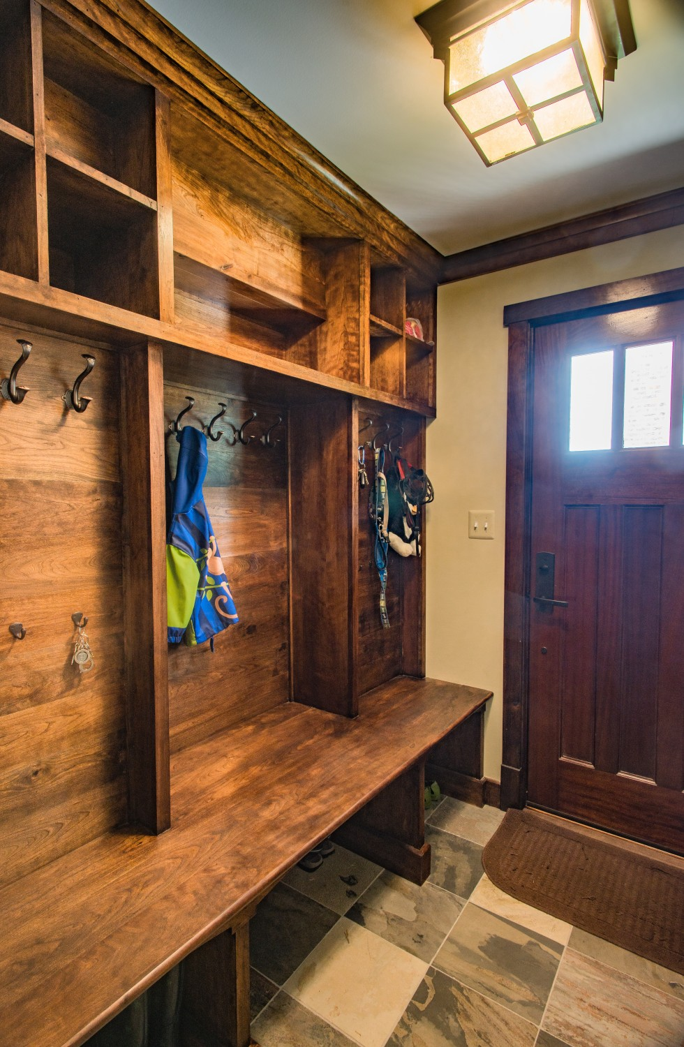 Stained-mudroom-built-in