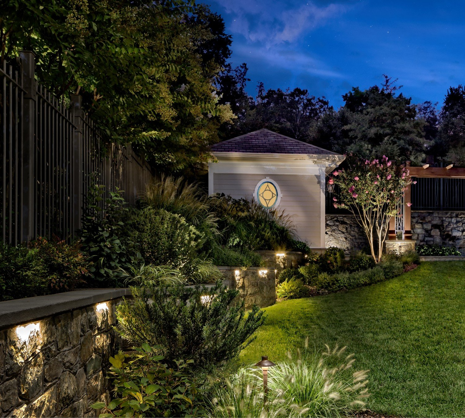 gorgeous-landscaped-entry-at-night