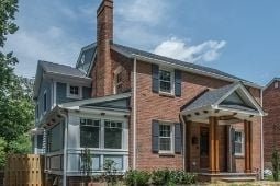 Exterior Two Story Home Addition to Classic Brick Home - Home Addition Services | Denny + Gardner