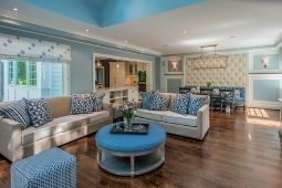Interior Whole Home Remodel Tufted Accent Wall and Blue Color Palette - Whole Home Remodeling Services | Denny + Gardner